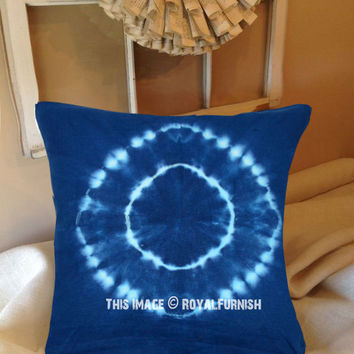 Blue Shibori Medallion Design Indigo Square Throw Pillow Case 16X16 Inch on RoyalFurnish.com