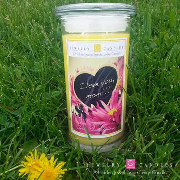I LOVE YOU MOM - SPRING THEME - Jewelry Greeting Candles