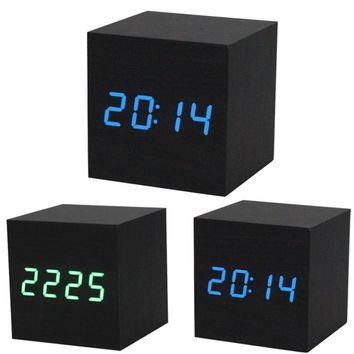 2017 Brand New Design Style Digital LED Black Wooden Wood Desk Alarm Brown Clock Voice Control Reloj Despertador Free Shipping