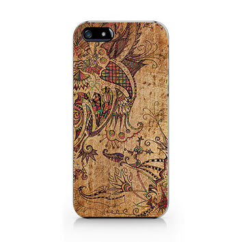 A-273- Floral Wood print iPhone 4/4S case, Autumn floral iPhone 5/5S case