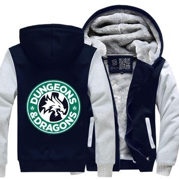 Starbucks Parody Mashup, Dragon And Dungeon Fleece Jacket
