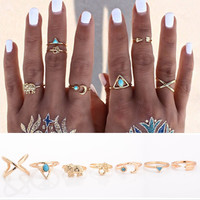 7PCS/LOT Brand Natural Stone Bohemian Midi Ring Set Vintage Steampunk Cross Moon Anillos Ring Knuckle  Rings for Women Anel 2016