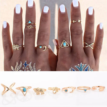 7PCS/LOT Brand Natural Stone Bohemian Midi Ring Set Vintage Steampunk Cross Moon Anillos Ring Knuckle Rings for Women Anel