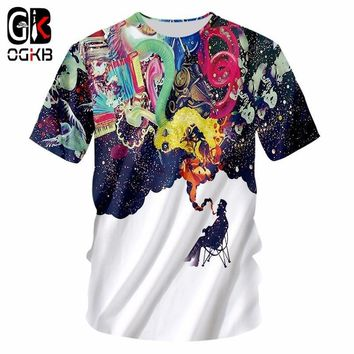 OGKB Summer Tops Women/men's Funny Print Smoking Person 3D T-shirt Casual Tshirt Couple Hiphop Punk O Neck Tee Shirts Homme 7XL