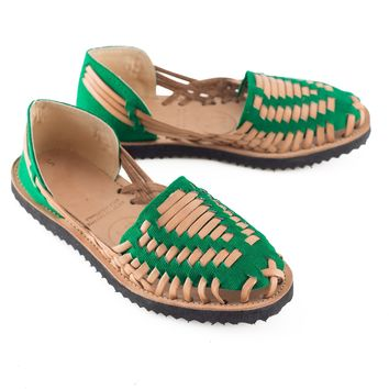 Women's Emerald Green Woven Leather Huarache Sandal
