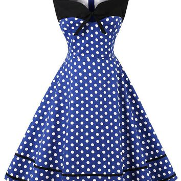 Vintage Bowknot Polka Dot Pin Up Dress