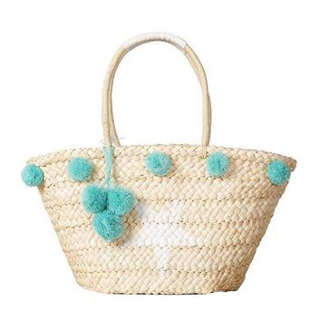 Star Pom Pom Straw Beach Bag