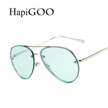 HAPIGOO Fashion Vintage Pilot Oval Clear Sunglasses Women Men Brand Designer Clear Driving Female Rimless Mirror Aviation Shades