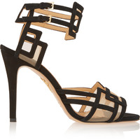 Charlotte Olympia - Between The Lines suede and mesh sandals
