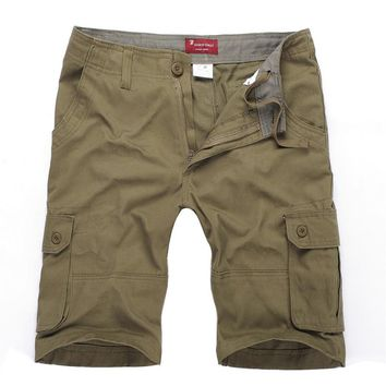 Mens Cargo Shorts Large Size 29-46 Cotton Loose Shorts Military Army Multi-pockets Beach Short Pants Casual