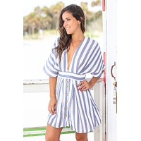 Blue Striped Short Dress with Open Back