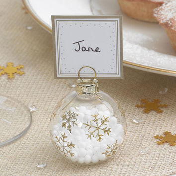 Shimmering Snowflake  winter wonder land Wedding-Christmas dining table- Bauble Place Card Holders - 6 Pack