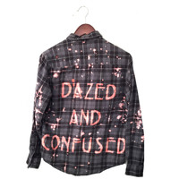 Dazed and Confused Shirt, Pink Grey Plaid Flannel.