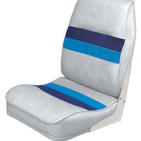 Deluxe Pontoon Fold Down Seat, White-Navy-Blue - Wise Boat Seats