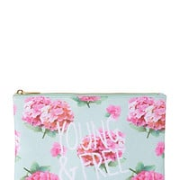 FOREVER 21 Young & Free Floral Cosmetic Pouch Mint/Pink One