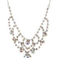 Silver Iridescent Rhinestone Bib Necklace by Charlotte Russe