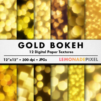 Gold Bokeh DIgital Paper - Scrapbooking paper, photography background, gold design element, repeating patterns, city lights, heart bokeh