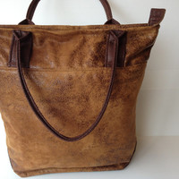 large vegan brown  tote,  aged leather look handbag,  elegant tote, leight weight bag, city bag, every day bag