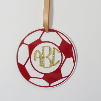Monogram Soccer Christmas Tree Ornament, Soccer Ball Ornament with Monogram , Teen Gift, Stocking Stuffer, Three Inch Acrylic Ornament