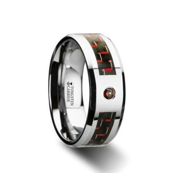 ADRIAN Tungsten Carbide Ring Black & Red Carbon Fiber Red Diamond Set