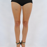 (ang) High Waist Futuristic Cut Out black mini shorts