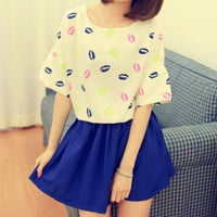 Fluorescence Color Slips Half Sleeves Loose T-shirts