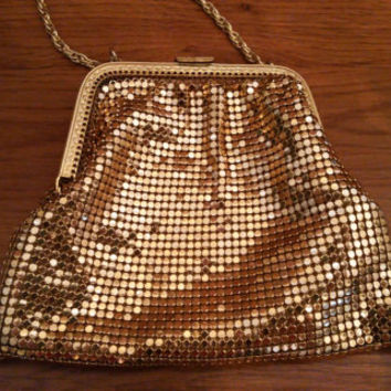Vintage Gold Metal Mesh Purse Evening Bag Retro Glam Whiting Davis Style