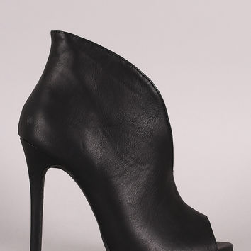 Liliana V-Slit Peep Toe Stiletto Booties