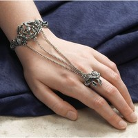 Gothic Dragon Exotic Pewter Slave Bracelet Jewelry Adjustable Sizing -