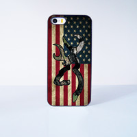 Browning Deer Camo American Flag Plastic Case Cover for Apple iPhone 5s 5 6 Plus 6 4 4s  5c