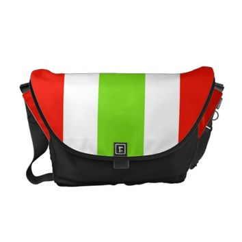 Stripes White Red Green Courier Bag