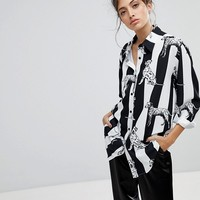 Reclaimed Vintage Inspired Boyfriend Shirt In Dalmatian Stripe at asos.com