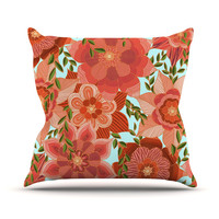 """Art Love Passion """"Flower Power"""" Red Floral Throw Pillow"""