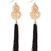 FOREVER 21 Tasseled Filigree Drop Earrings Gold/Black One