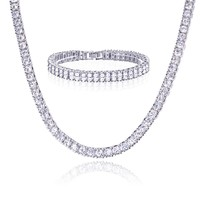 "Jewelry Kay style Men's Women's Silver Toned CZ Stoned Iced 20"" Tennis Chain & 8"" Bracelet  SET S"