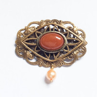 BLACK FRIDAY SALE, Carnelian Pin Brooch, Pearl, Art Deco Vintage Jewelry
