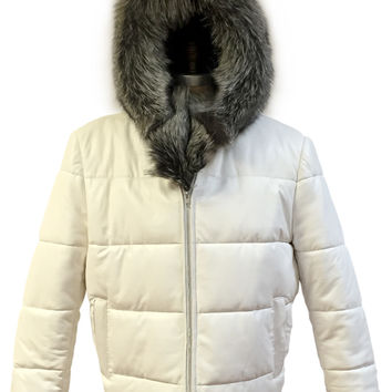 Jakewood - 6200 Full Coyote White Leather Parka