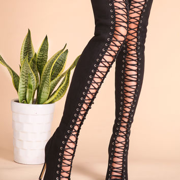 Black Sexy Criss Cross Lace Up Suede Thigh High Boots | MakeMeChic.COM