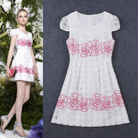 White Puff Sleeve Rose Embroidered  Mesh Mini  Dress