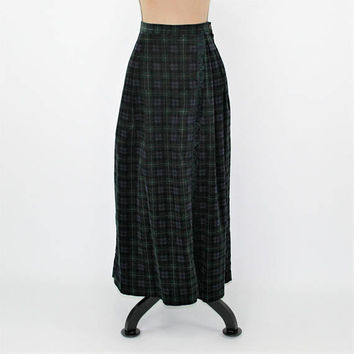 Long Corduroy Skirt Plaid Maxi Winter Navy Green Tartan Fringe Skirt Faux Wrap Skirt Size 8 Susan Bristol Vintage Clothing Womens Clothing