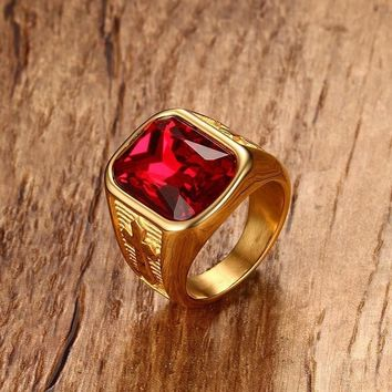 Square Red Crystal Stone Mens Ring in Cross Design Gold Tone Stainless Steel Signet Rings Modern Male Men Jewelry Accessories