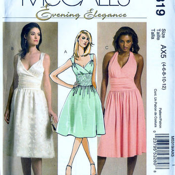 McCall's M5319 Misses Surplice Halter Evening Dress Sewing Pattern Sz 4-12