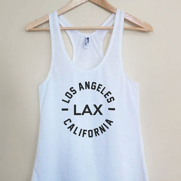 LAX - Los Angeles California - Light Weight White Racerback Womens Tank Top - Sizes - Small Medium Large