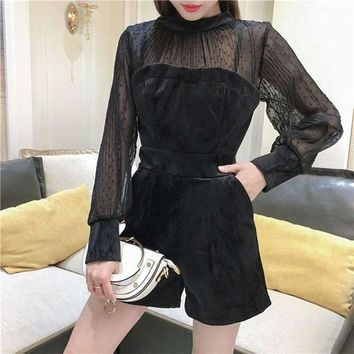2018 Spring Fashion Women Velvet Chiffon Patchwork Playsuit Back Zipper Perspective Pleated Chiffon Sexy Romper