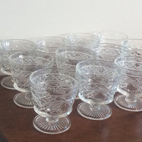 Vintage Dessert Bowls Gothic Big Top Ice Cream Cups Retro Pressed Glass