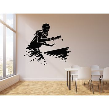 Vinyl Wall Decal Ping Pong Sports Table Tennis Athlete Game Room Stickers Mural (g1714)
