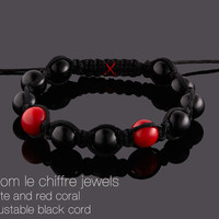 Dubai black agate and red coral shamballa bracelet