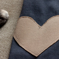 Heart shaped elbow patch sweater  rustic grey cardigan by Minxshop