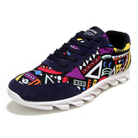 Men Graffiti Casual Shoes Mens Outdoor Canvas Walking Trainers Zapatillas Zapatos Breathable Huraches