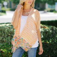 Orange Printed Geometric Trim Chiffon Maternity Cardigan
